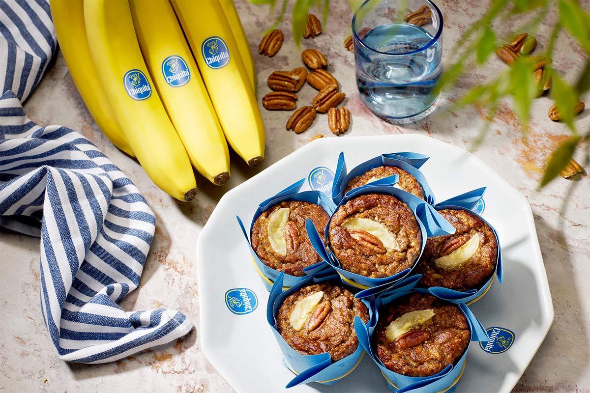 Paleo-banaan en pecannotenmuffins van Chiquita